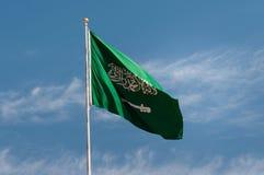 沙特阿拉伯的国旗,在Madaîn萨利赫 免版税库存照片
