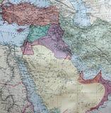 沙特阿拉伯的老1945地图包括伊朗 库存照片
