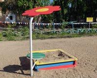 沙盒在儿童的围场 免版税库存照片