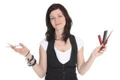 沙龙样式-演播室白色的美发师 免版税库存图片