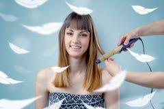 沙龙的俏丽的妇女与飘渺概念 免版税库存图片