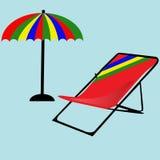 沙滩伞传染媒介象 有轻便折叠躺椅的遮阳伞 库存图片