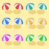 沙滩伞集合 阳伞的海滩集合符号 夏天晴朗的遮阳伞 平的3d传染媒介等量例证 库存图片