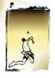 沙滩排球海报背景 免版税图库摄影