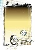 沙滩排球海报背景 库存照片