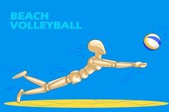 沙滩排球的概念与木人的时装模特的 免版税图库摄影