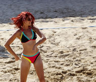 沙滩排球婴孩 免版税库存照片
