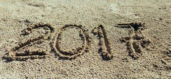 沙滩 概念新年度 库存照片
