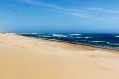 沙滩的侧视图 库存照片