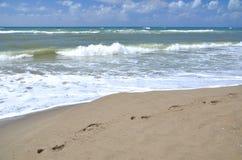 沙滩的Marina di Vecchiano附近的比萨不安定的海在意大利 免版税库存图片
