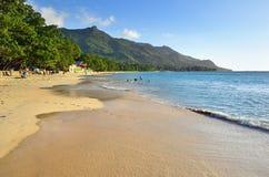 沙滩花花公子Vallon, Mahe,塞舌尔群岛 免版税库存图片