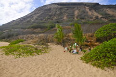 沙滩,奥阿胡岛 免版税图库摄影