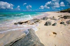 沙滩,绿松石水,松的云彩 图库摄影