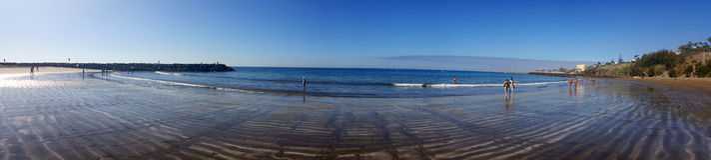 沙滩Playa del Ingles看法  Maspalomas canaria gran 免版税库存照片