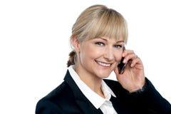 沟通与她的业务伙伴的可爱的白肤金发的执行委员 库存照片