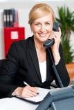 沟通在电话的总公司夫人 免版税库存照片