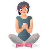 沟通或发短信与她的智能手机的逗人喜爱的青少年的女孩 动画片在白色背景隔绝的传染媒介例证 免版税图库摄影