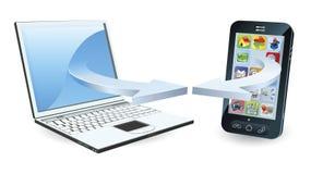 沟通的膝上型计算机smartphone 库存例证