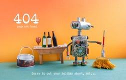 没找到的404个错误页 与拖把和桶的滑稽的机器人洗衣机水、酒杯和瓶在木桌 免版税库存照片