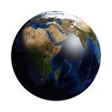 没有云彩和大气的行星地球 非洲视图 库存图片