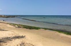 没有人的一个美丽的海滩 免版税库存图片