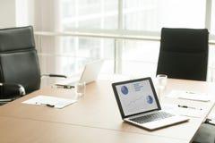 没有人的在膝上型计算机屏幕上的会议桌和统计 图库摄影