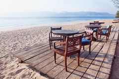 没有人的热带海滩在失去的天堂 图库摄影