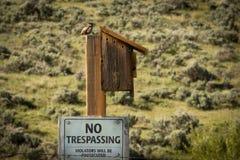 没有侵入的标志鸟舍 库存图片