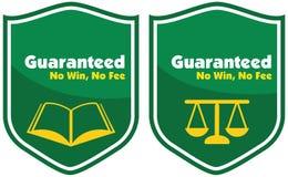 没有保证胜利,没有费标签徽章 免版税库存照片