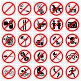 没有停车牌。 禁烟,没有狗或者Pets.Set Prohi 免版税图库摄影