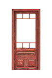 没有在白色背景隔绝的玻璃的木给上釉的门 库存图片