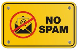 没有垃圾短信黄色标志-长方形标志 库存图片