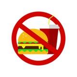 没有快餐标志 被禁止的汉堡包和可乐 适当的营养,食物医疗保健 不健康的产品,象,没有快餐的商标 皇族释放例证