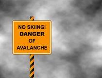 没有滑雪轨道闭合的雪崩危险倾斜 安全与黑文本的禁止标志在黄色背景 也corel凹道例证向量 库存图片