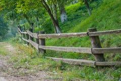 没有漆的板条葡萄酒稀稀落落的篱芭以绿色植物为背景的 库存照片