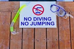 没有潜水没有跳跃 免版税库存照片