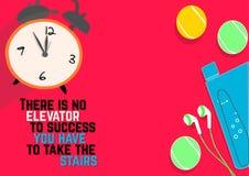 没有电梯对您必须采取台阶的成功 健身刺激行情 向量例证