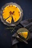 没有的桔子烘烤乳酪蛋糕 免版税库存照片