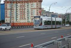 没有的电车 15在Stroginsky桥梁去 莫斯科 免版税图库摄影