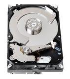 没有盖子的使用的sata硬盘驱动器箱子 免版税库存照片
