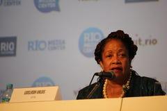 没有种族主义的奥林匹克在巴西人炫耀会议 库存照片