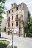 没有窗口的一个被放弃的房子 奥列纳,努奥罗省,撒丁岛,意大利 免版税库存图片