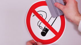 没有符号抽烟 乙烯基贴纸的设施 股票录像