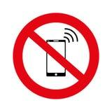 没有细胞,没有手机标志横幅,在白色背景,例证,传染媒介的没有电话标志, 免版税图库摄影