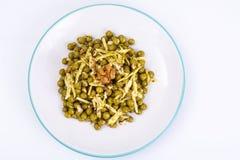 没有肉的健康和饮食食物:绿豆和乳酪在观点扫描器 图库摄影