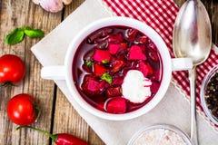 没有肉的食物 素食蔬菜汤用甜菜根 免版税库存图片