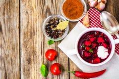 没有肉的食物 素食蔬菜汤用甜菜根 免版税图库摄影