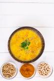没有肉,素食食物是:汤用鸡豆 库存图片