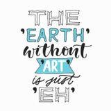 没有艺术的地球是嗯 创造性的手书面行情 现代书法海报 对于T恤杉打印,海报,招呼加州 库存例证