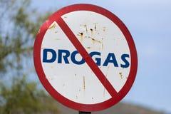 没有药物的生锈的标志用西班牙语,委内瑞拉 免版税库存照片